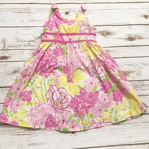 LILLY PULITZER Vintage Floral Dress Pink Yellow